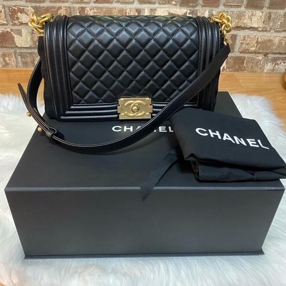 Chanel Lambskin Quilted Medium Black Boy Flap
